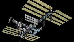 Die ISS als Außenposten im All.