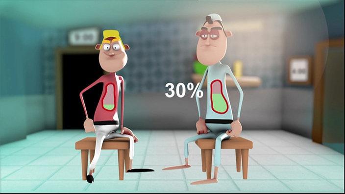 3-D-Animation zweier Männer, die nebeneinander auf einem Stuhl sitzen.