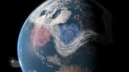 Grafik: Die Erde im Weltraum, eingezeichnet sind Hoch- und Tiefdruckgebiete.