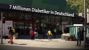 Fußgängerzone – Diabeteszahlen als Schriftzug